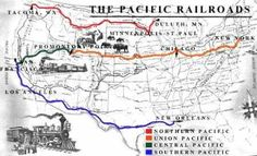 this shows the transcontinental railroad map to show to students when presenting railroads mpr