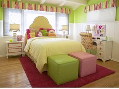 Awesome Teen Bedroom Ideas: Awesome Teen Bedroom Ideas With Colorful Ottoman And Bed And White Nightstand Design