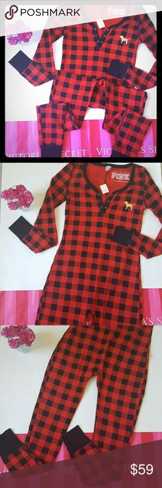 New! PINK onesie pajamas New with tags! Adorable one piece pajamas from PINK. Checkered design, size xs. Cute lettering on back! Perfect for fall and winter!  Bundle and save! PINK Victoria's Secret Intimates & Sleepwear Pajamas