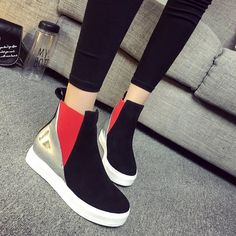 Wedge Sneakers Style, Wedge Boots, Wedge Heels, Stiletto Heels, High Top Sneakers, Shoe Boots, Skater Girl Style, Skater Girl Outfits, Stylish Walking Shoes