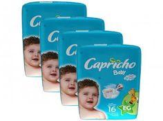 Kit de Fraldas Capricho Baby EG 16 Unidades - com Indicador de Umidade - 4 Pacotes