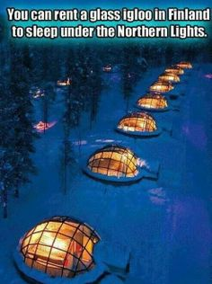 rent a glass igloo to sleep under the Northern Lights - Kakslauttanen Igloo Village in Saariselkä, Finland. Northern Lights ARE on my bucket list. Oh The Places You'll Go, Places To Travel, Places To Visit, Travel Destinations, Unique Honeymoon Destinations, Honeymoon Spots, Travel Europe, Travel Packing, Dream Vacations