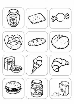Bilder Stichwort Backwaren und Süßigkeiten Educational Activities For Preschoolers, Preschool Themes, Coloring Sheets For Kids, Cute Coloring Pages, Kindergarten Math Worksheets, School Worksheets, Speech Language Therapy, Speech Therapy, German Language Learning