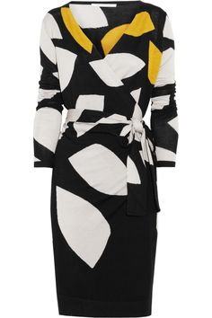 Diane von Furstenberg | Richley intarsia wool-blend wrap dress | NET-A-PORTER.COM
