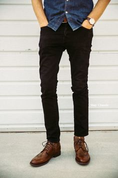 Tags: black denim, skinny jeans, slim-fit shirt, button-up, blue, indigo, brown, leather shoes, boots, wingtips, watch, belt