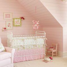 Love the feminine feel of this room. #pink #girl #nursery