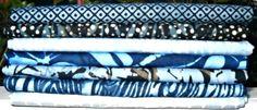 Blue Batik Fabric Fat Quarter Bundle - Seven Fat Quarters, 100 Percent Cotton, by Island Batik by CurlicueCreations on Etsy https://www.etsy.com/listing/229116672/blue-batik-fabric-fat-quarter-bundle