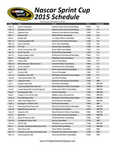 The printable 2015 Nascar Sprint Cup Series schedule provides the date, time, track, and national TV channels for each race. #RaceWeek #Daytona