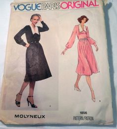 """1970s Boho Loose fitting dress with skirt tucks sewing pattern Molyneux Vogue 1856 Size 12 Bust 34"""" UNCUT FF by retroactivefuture on Etsy"""