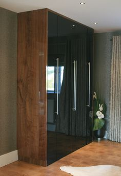 High gloss black & high gloss walnut veneer wardrobe made by us www.kbstoretrade.co.uk