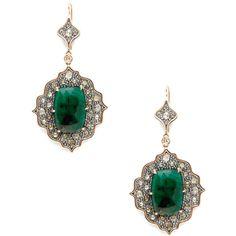 Moritz Glik Women's Emerald & Champagne Diamond Geometric Drop... ($2,895) ❤ liked on Polyvore featuring jewelry, earrings, jewels, no color, emerald drop earrings, 18 karat gold earrings, champagne diamond earrings, emerald earrings and diamond accent earrings