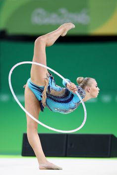 Kseniya Moustafaeva of France competes during the Women's Individual All-Around Rhythmic Gymnastics Final on Day 15 of the Rio 2016 Olympic Games at the Rio Olympic Arena on August 20, 2016 in Rio de Janeiro, Brazil.