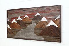 Art murale en bois d'une montagne de coucher de par CarpenterCraig