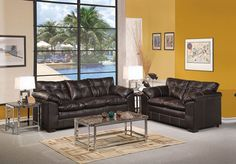 Acme Furniture - Hayley Onyx Bonded Leather 4 Piece Living Room Set - 50350-51-52-53