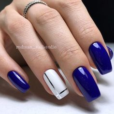 28 Cute Red And White Nail Art Designs To Try This Year - Workout Plan Trendy 60 Nail Art Pictures 2018 Flower Nail Art Nail Art Design Gallery, Best Nail Art Designs, Acrylic Nail Designs, Acrylic Nails, Blue Nail Designs, Blue And White Nails, White Nail Art, Royal Blue Nails, Bright Nail Art