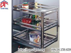 Phụ kiện tủ bếp wellmax - Kệ kéo 3 tầng chai,dao, đũa inox dạng bản -GSPTJ010I