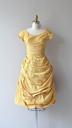 Cocktail dress, yellow silk taffeta, 1950's