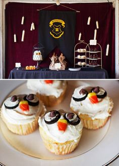 Posting a Harry Potter Party on Halloween just feels too perfect doesn& it ;) From the Honeydukes candy display and owl cupcakes to the Potions Class . Harry Potter Halloween Party, Harry Potter Birthday, Cumpleaños Harry Potter, Cauldron Cake, Milk Chocolate Ganache, Owl Cupcakes, Candy Display, Home Interior, Hogwarts