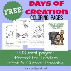 Kids will enjoy learning about the Days of Creation with these FUN Coloring Pages. Includes ESV verses for each day of creation. :: www.inallyoudo.net