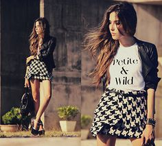 Flávia Desgranges van der Linden - Choies Skirt, Brashy Couture T Shirt, Boda Skins Jacket - Petite & Wild