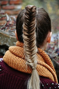 Fishtail braid. I love this for gal with long hair that look good with a pony! @Megan Ward Quirk