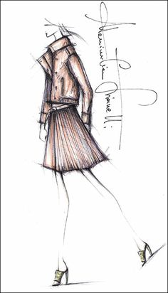 Fashion illustration - fashion design sketch // Massmiliano Giornetti for Salvatore Ferragamo