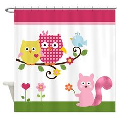 Happy Owls on Branch Shower Curtain on CafePress.com