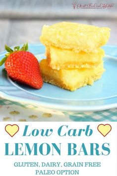 Low Carb Lemon Bars • Great Food and Lifestyle.  I've lost 10 sizes and dealt with Type 2 Diabetes mostly drug free.  For more healthy ideas follow me on Pinterest and subscribe to my blog at this link. #lowcarblemonbars