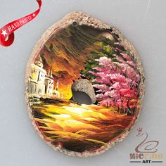 HAND PAINTED ABSTRACT SCENERY AGATE SLICE GEMSTONE NECKLACE PENDANT ZL80 20320 #ZL #PENDANT