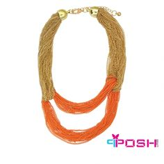 Asal - Necklace Colourful Chunky multi Chain Necklace - Gold and orange colour - Dimensions: + extending chain Beaded Necklace, Gold Necklace, Orange Color, Colour, Beautiful Gorgeous, I Love Jewelry, Luxury Jewelry, Luxury Fashion, Fashion Jewelry