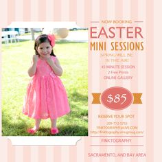 Spring will be here soon! This offer is good March Through April! BOOK NOW finktography@live.com