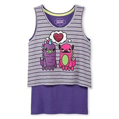 So So Happy® Monster Love Layered Tank Top - Girls 4-16 - jcpenney