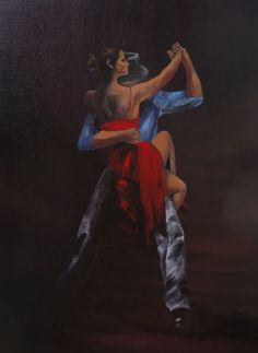 "Tango Dancers - ""Lady in Red #12"" - Acrylic Painting by Lorraine Skala - Visit my Etsy Shop to purchase notecards & prints of this painting"