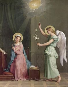 The Annunciation with Our Blessed Mother and the Archangel Gabriel The Annunciation Painting, Feast Of The Annunciation, Blessed Mother Mary, Blessed Virgin Mary, Catholic Art, Religious Art, Image Jesus, Queen Of Heaven, Mama Mary