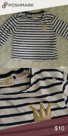 Zara baby navy and white striped tee with crown. So cute for your princess! Good condition. Zara Shirts & Tops