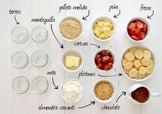 Ingredientes de un banana split en un tarro - ingredients of banana split in a jar