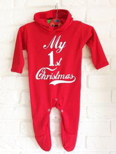 c74dd996d7e Baby s hooded red rompasuit babygrow for Baby s Christmas. by  MumKnowsBabyGrows on Etsy