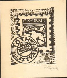 EXLIBRIS BOOKPLATE HUNGARY POSTAL STAMP 1963 SIGNED 10X9CM LB 2119
