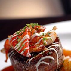 The famouse Surf and Turf at N9ne Steakhouse inside Palms Casino Resort in Las Vegas. Includes Filet Mignon, Maine Lobster, and White Truffle Aioli