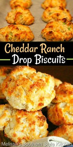 These cheddar-ranch infused drop biscuits require no rolling and cutting making them ideal for any meal #cheddarbiscuits #cheese #southernbiscuits #biscuitrecipes #dropbiscuits #cheddarranchdropbiscuits #brunch #breakfast #southernfood #southernrecipes #holidaybrunch Bisquick Recipes, Bread Recipes, Cooking Recipes, Best Homemade Bread Recipe, Best Biscuit Recipe, Homemade Breads, Breakfast Recipes, Dinner Recipes, Good Food