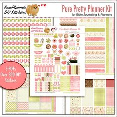 iNSD Sale! Pure Pretty Planner Kit! 5 PDF, 300+ DIY Stickers EC Happy Planner in Corals, Pinks, and Greens  Welcome spring with pages PACKED with spring flowers and birds in coral pinks and green. If you want these shipped to you order the Add On Printing $2 per page service at