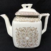 Brown Transferware Tea Pot ~ AMERICA 1886