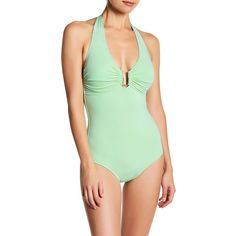 Melissa Odabash Halter One-Piece Swimsuit ($123) ❤ liked on Polyvore featuring swimwear, one-piece swimsuits, peppermint, 1 piece bathing suits, halter neck bathing suit, halter neck swimsuit, halter one piece bathing suit and open back bathing suits