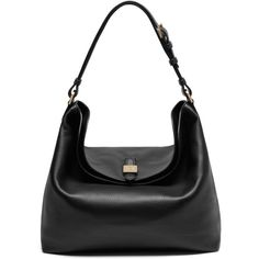Mulberry Tessie Hobo (£695) ❤ liked on Polyvore featuring bags, handbags, shoulder bags, black, black leather shoulder handbags, black handbags, black leather shoulder bag, leather purse and black purse