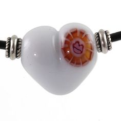 Handmade Lampwork Heart NecklaceWhite Lips by AmySimsDesigns, $38.00