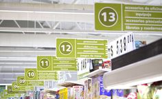 Chedraui hypermarket by Little, Guadalajara City Mexico store design Store Signage, Retail Signage, Food Retail, Retail Shop, Directional Signage, Supermarket Design, Signage Design, Design Furniture, Retail Design