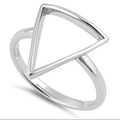 Sterling Silver Geometric Triangle Ring Sz 9