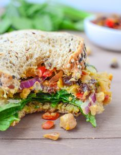 The Ultimate Chickpea Salad Deli Sandwich! Chickpea salad, homemade peach chutney, curry mayo. Vegetarian or Vegan and easily gluten-free