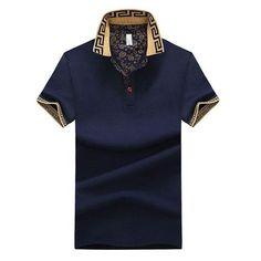 69ea4baf Mens Stylish Polo Shirt Printed Collar Short Sleeve Spring Summer Casual  Tops