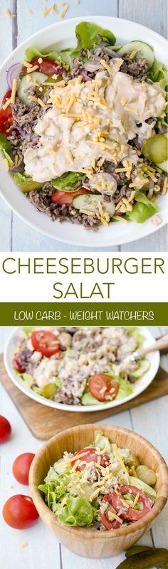 Schnelles Rezept für einen Low Carb Cheeseburger Salat. Vollgepackt mit allen Zutaten, die sich auch auf dem Original Cheeseburger finden. Gurken, Tomaten, Zwiebeln, Hackfleisch, Cheddar Käse und ein selbstgemachtes Cheeseburger Dressing. Der perfekte Sal